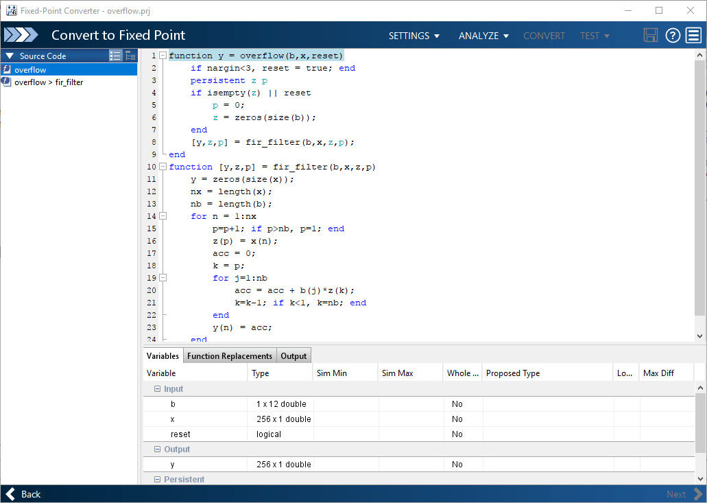 convert matlab function to application