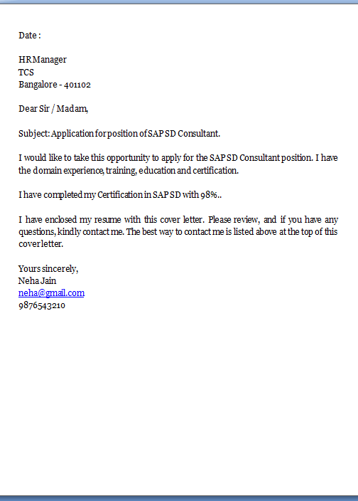 how to write a job application email for fresher