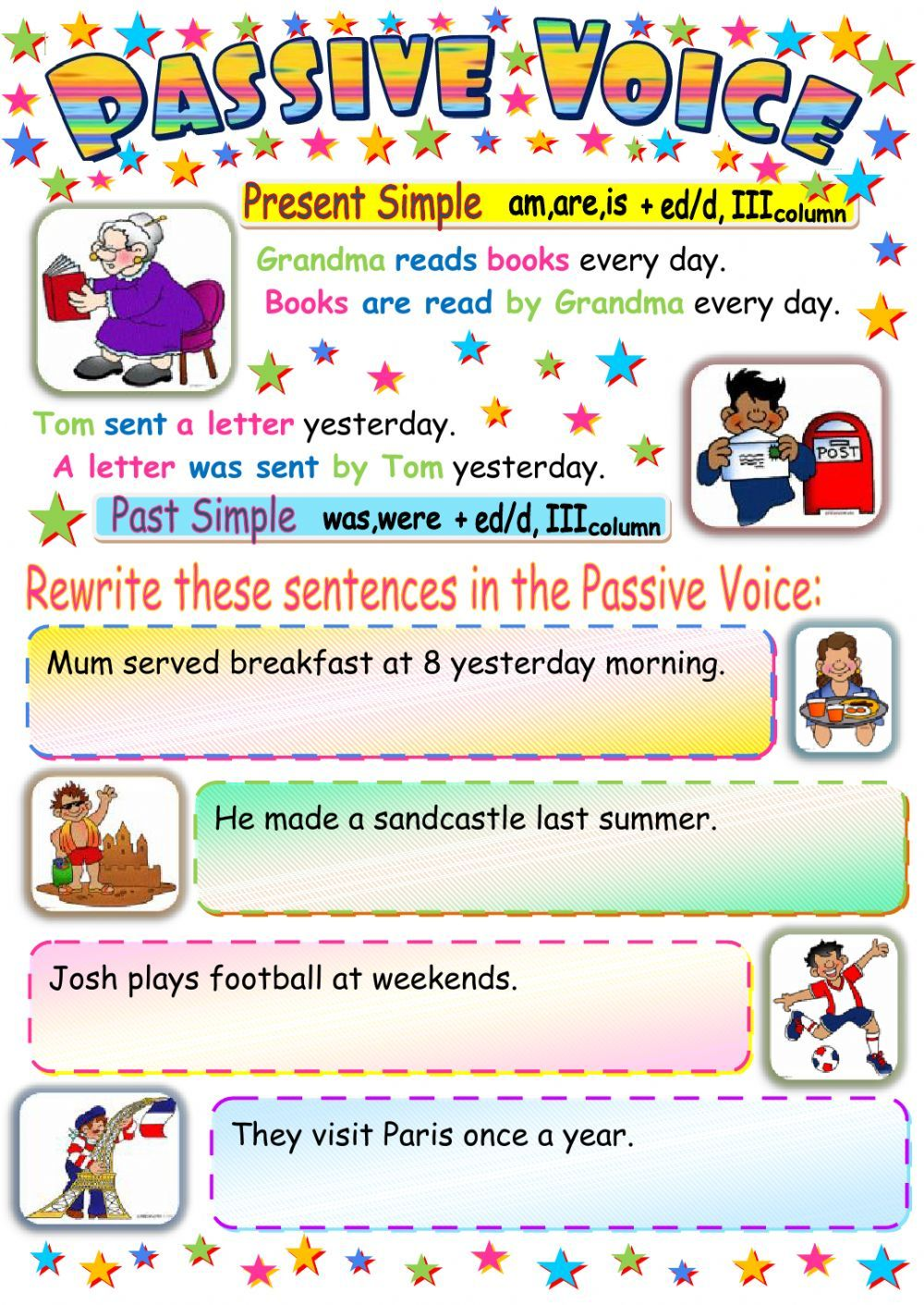 present simple and past simple passive voice exercises pdf